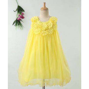 Enfance Flower Embellished Sleeveless Dress - Yellow