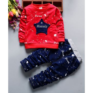 Kookie Kids Full Sleeves Tee & Lounge Pant Star Applique - Red