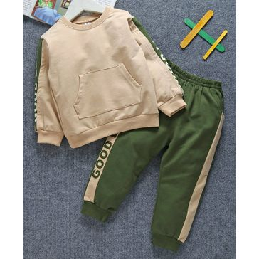 Lekeer Kids Full Sleeves Sweatshirt With Lounge Pant Good Print - Green