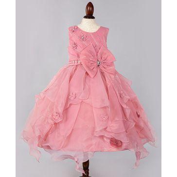 WhiteHenz Clothing Sleeveless Flower Decorated Ruffled Dress - Pink