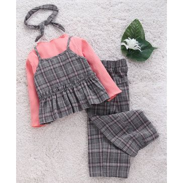 Kookie Kids Full Sleeves Top With Bottoms Checked - Pink Grey