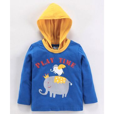 Tango Full Sleeves Hooded T-Shirt Elephant Print - Blue Yellow