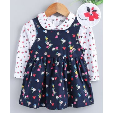 Cucumber Frock With Full Sleeves Collar Neck Tee Floral Print - Navy White