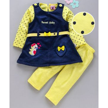 U R Cute Full Sleeves Polka Dot Print Top With Bird Patch Pinafore Dress & Leggings Set - Yellow