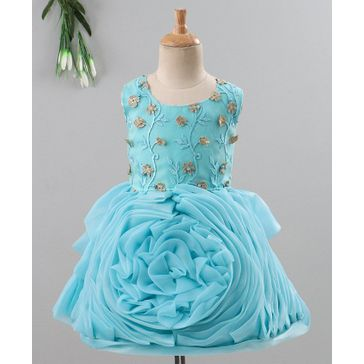 Enfance Sleeveless Flower Embroidered Ruffled Rosette Flare Dress - Blue