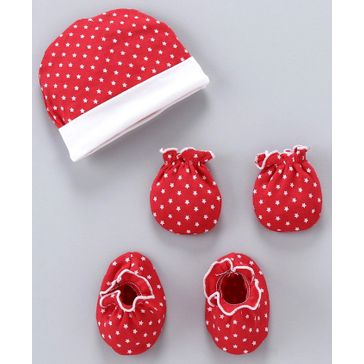 Ben Benny Cap And Mittens With Booties Dots Print - Red