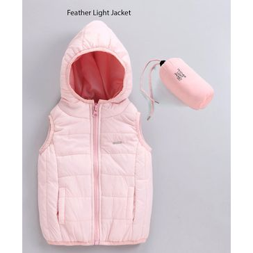 Babyoye Sleeveless Poly Nylon Feather Light Jacket - Light Pink