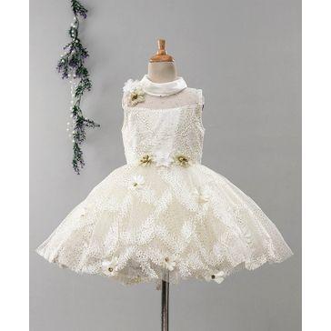 Enfance Sleeveless Flower Decorated Fit & Flare Dress - Cream