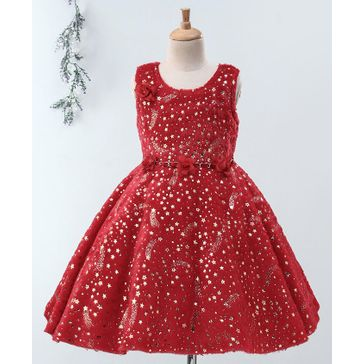 Enfance All Over Golden Stars Printed Sleeveless Dress - Red
