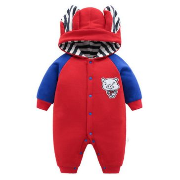 Pre Order - Awabox Full Contrast Sleeves Pig Patch Hooded Romper - Red