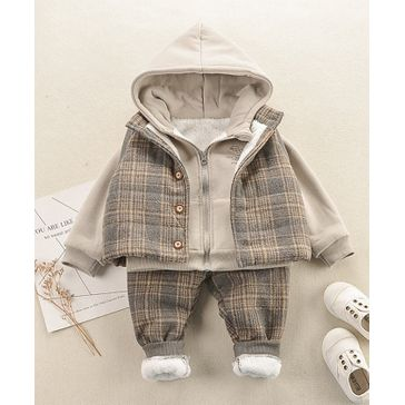 Pre Order - Awabox Full Sleeves Hooded Jacket With Checked Coat & Pants Set - Beige
