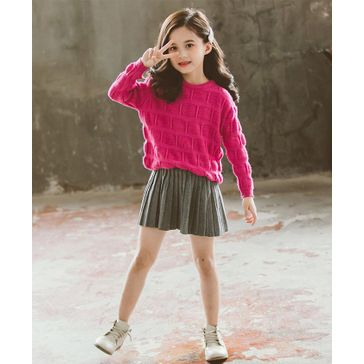 Pre Order - Awabox Solid Full Sleeves Knitted Sweater With Skirt - Pink