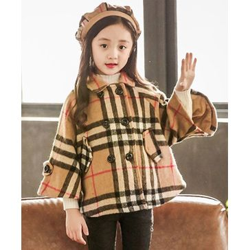 Pre Order - Awabox Full Sleeves Checkered Overcoat - Brown