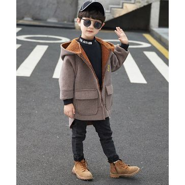 Pre Order - Awabox Full Sleeves Letter Patch Hooded Coat - Brown