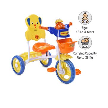 Babyhug Musical Froggy Tricycle With Front & Rear Basket - Blue