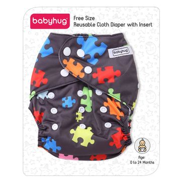 2b3176a840 Babyhug Free Size Reusable Cloth Diaper With Insert Jigsaw Print Dark Grey  Online in India, Buy at Best Price from Firstcry.com - 757072