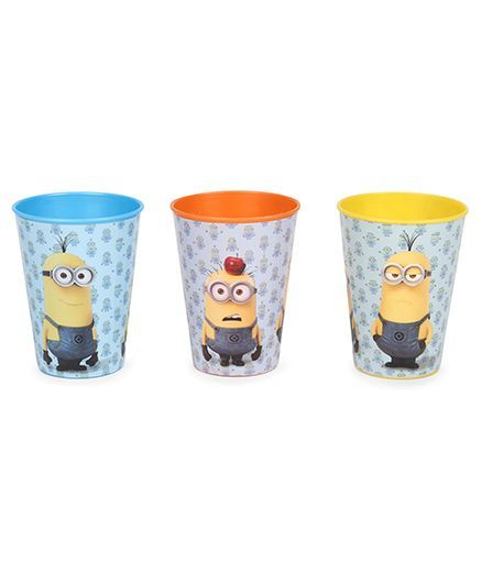 minions drinking tumbler set of 3 blue yellow online in india buy