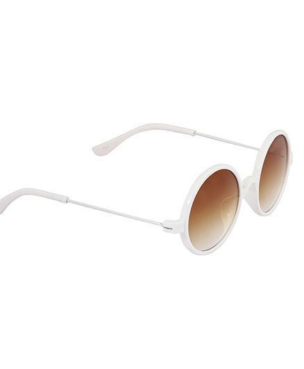 7542a95a2410 Spiky Classic Round Kids Sunglasses White & Brown for Both (4-6 ...