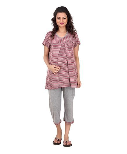 Uzazi Half Sleeves Maternity Night Wear Red Online in India be5796a60