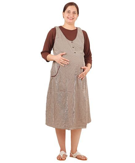 42b1e26db998cd Uzazi Maternity Dungaree Dress With TShirt Brown Online in India ...