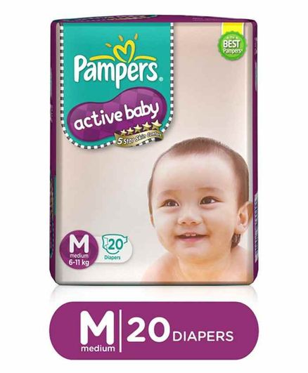 Pampers Active Baby Taped Diapers, Medium size diapers, (MD) 20 count, taped style custom fit