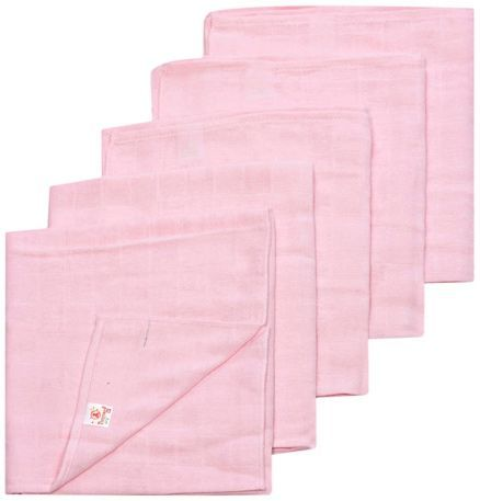 Tinycare Square Cloth Baby Nappy Pink Medium - Set Of 5