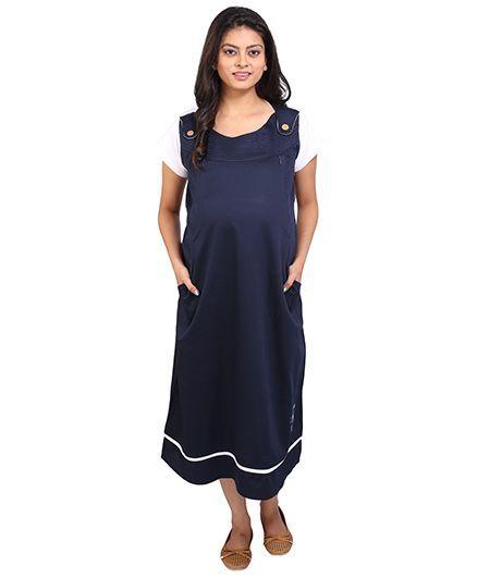 014e59562b21 Momtobe Short Sleeves Maternity Dress Blue WhiteMomToBe Online ...