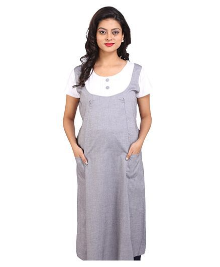 f09c26205f61a MomToBe Half Sleeves Maternity Dress Grey And White Online in ...