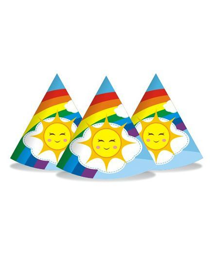 Prettyurparty Rainbow Hats Pack Of 10 - Multicolor