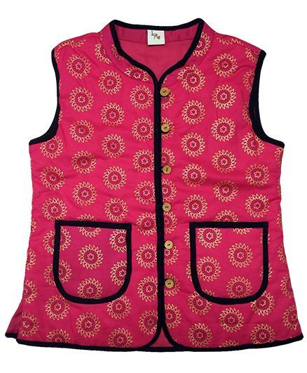 Little Pockets Store Ethnic Reversible Quilted Jacket - Pink