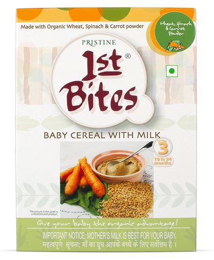 Pristine 1st Bites Wheat Spinach & Carrot Powder 10 Months to 24 Months Stage 3 - 300 gm