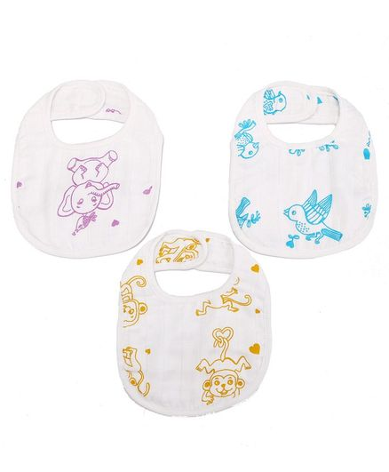 Kaarpas Premium Organic Cotton Muslin Bibs Adorable Animals Print  Pack of 3 Large Size  - Multicolor