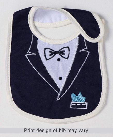 Babyhug Bib Velcro Closure Bow Embroidery - Navy Blue