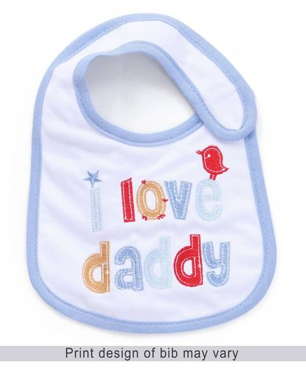 Babyhug Bib Velcro Closure I Love Daddy - White and Blue