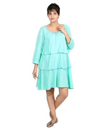456f9154281ba 9teen Again Full Sleeves Layered Maternity Dress Green Online in ...