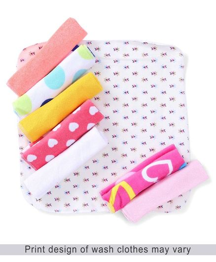 Babyhug Knit Wash Cloth Printed Pack of 8 (Color And Print May Vary)
