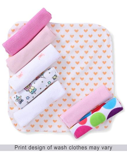 Babyhug Printed Knit Wash Cloth Pack of 8 (Color And Print May Vary)