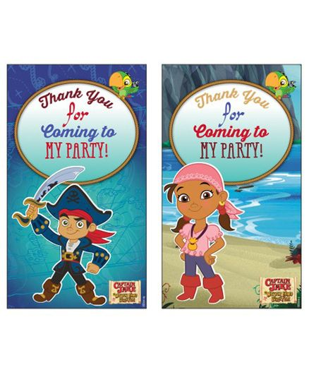 Disney Captain Jake And The Neverland Thank You Cards Pack of 10 - Multicolour