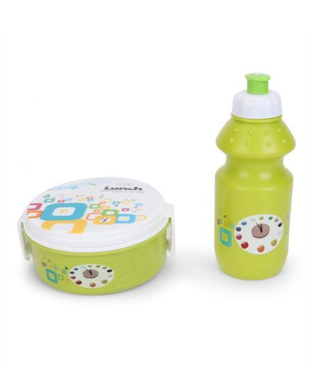 Round Lunch Box And Water Bottle - Green & White