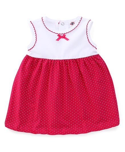 be34985ff033 Buy Zero Sleeveless Dotted Frock White Pink for Girls (12-18 Months) Online  in India