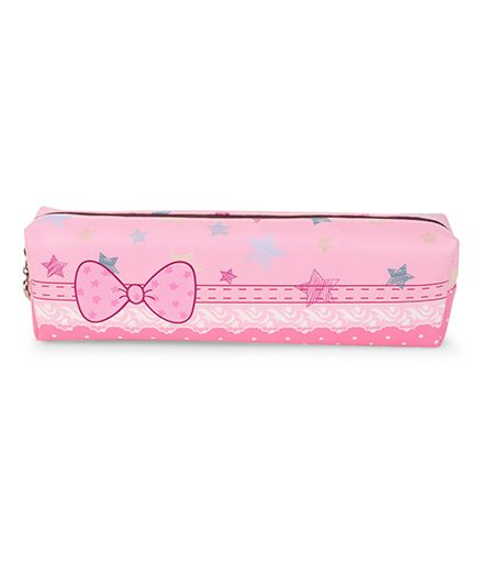 Pencil Pouch Bow And Star Print - Pink