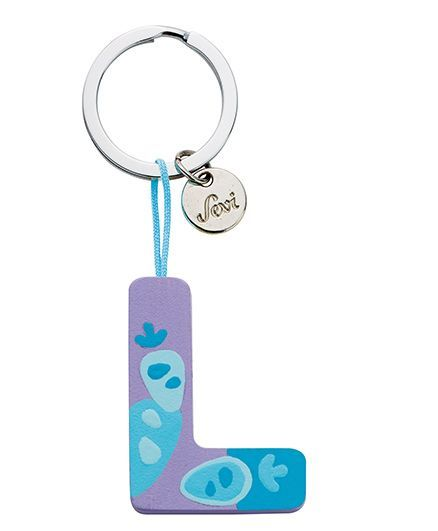 Sevi Wooden L Alphabet Key Chain - Purple Blue