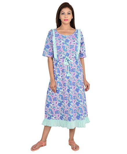 baa109ea5da 9teenAGAIN Half Sleeves Maternity Nighty Floral Print Blue Online in ...
