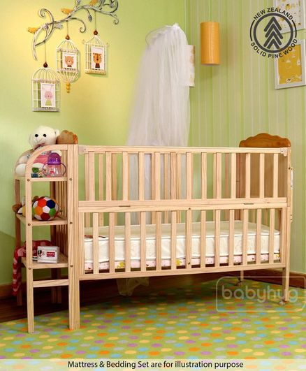 Babyhug Lily Wooden Cot With Detachable Bassinet & Side Shelf - Light Brown