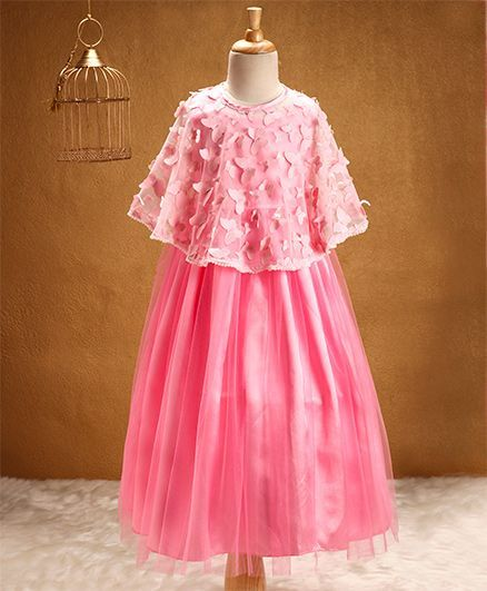 Buy Babyhug Sleeveless Party Wear Frock With Poncho Pink For Girls