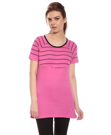 9c5bfd79185d3 Goldstroms Solid Color Long Maternity Top Light Pink Online in India ...