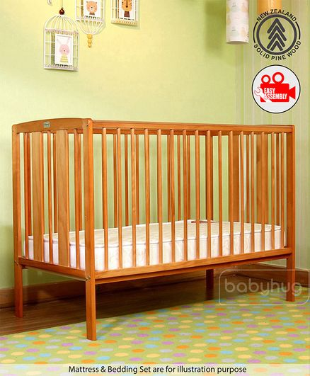 Babyhug Malmo Wooden Cot with 3 Level Height Adjustment & Plug and Play Assembly - Natural
