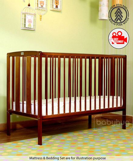 Babyhug Malmo Wooden Cot with 3 Level Height Adjustment & Plug and Play Assembly - Walnut Color