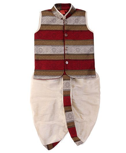 u Ron Sleeveless Embroidered Kurta & Dhoti Set - Maroon & Fawn