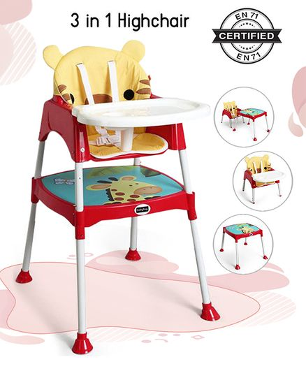 Babyhug 3 in 1 Play & Grow High Chair With 5 Point Safety Harness And Anti-Slip Base - Red